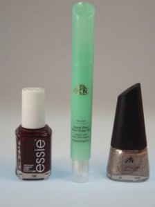essie 50 Bordeaux LCN Care Pen Tea Oil & Manhatten Quick Dry