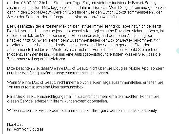 Douglas Infomail vom 02.07.2012