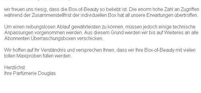 Douglas Infomail vom 26.07.2013