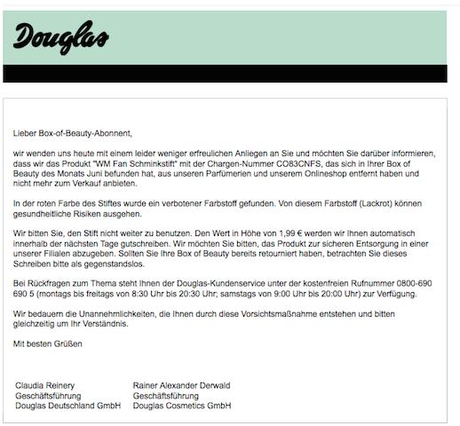 Douglas warnt vor Fan-Schminke