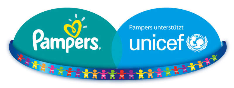 Logo Pampers unterstützt UNICEF